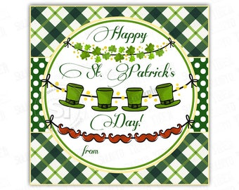 INSTANT DOWNLOAD-Happy St. Patrick's Day Tags- D.I.Y Tags-Digital file-You Print-2.5in Square tags