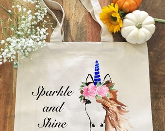 100% Organic Cotton Large Tote Bag with Pockets, Unicorn