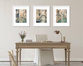 SALE, Venice Wall Art Print Set, Venice Italy Photography, Set of 3 Prints, Italy Print, Canals, Romantic, Travel Decor, Neutral, Vertical