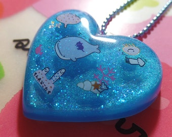 Kawaii Jinbei-San Resin Heart Necklace