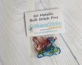 Metallic Bulb Stitch Pins - pack of 20, Red, Green, Blue & Copper - Knitters Stitch Pins/Stitch Markers, Calabash Pins, Gourd Pins SP0006