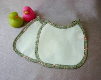 2 bibs in coton - floral green field