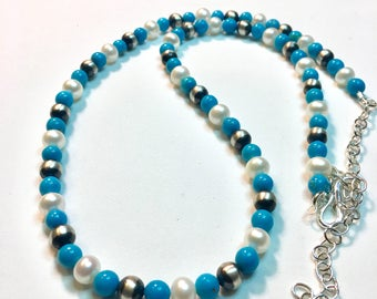 Turquoise & Pearls Necklace