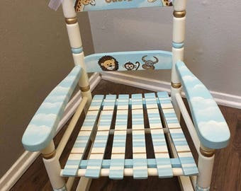 noahs ark rocking chair, child's painted rocking chair, hand painted kids furniture