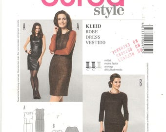 Burda 6975 Size 8, 10, 12, 14, 16, 18, 20 Women's sewing pattern, sleeveless / long sleeve, fitted shift / sheath dress, short skirt, mini