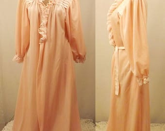 Vintage 60's Donna Richard Pink Fleece Lace Women's Robe Size L