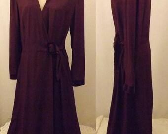 80's Long Purple Wrap Evening Dress Size 16 by Danny & Nicole NY