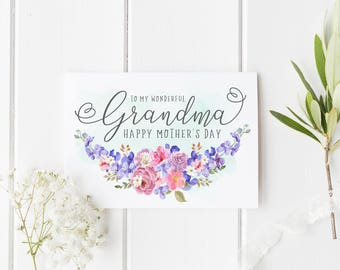 Grandma Mother's Day Card, Personalized Mother's Day Card, Wonderful Nannan Mother's Day Card, Custom Mothers Day Card, Nan Birthday Card