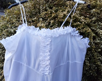 Vintage white long nightdress  with thin straps. UK size 16 - 18