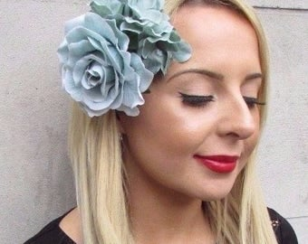 Turquoise Mint Green Hydrangea Rose Flower Hair Clip Fascinator Bridesmaid 3467
