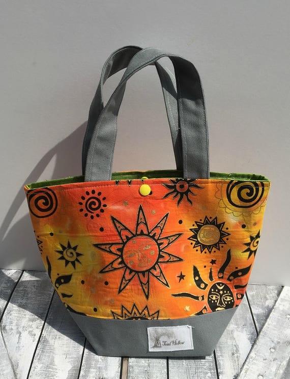 Mini Tote Bag-Batik Suns Fabric Knitting Bag,Sock Tote Bag,Sun Worshiper Tote Bag,Crochet Project,Knitting Project Bag,Crochet Bag,Mini Tote