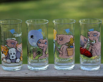 1982 E.T The Extra-Terrestrial, Pizza Hut Limited Edition Collector's Series, Glass Set Of 4