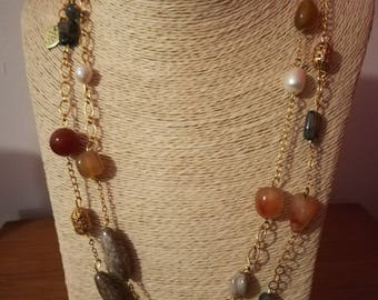 Necklace with grey stones, yellow ochre and orange carnelian