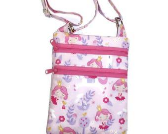 Princess Purse, Crossbody Purse, Princess Fabric Bag, Cross Body Bag, Gift for Her, Girl's Bag, Pink and Purple Purse, Girl's Purse
