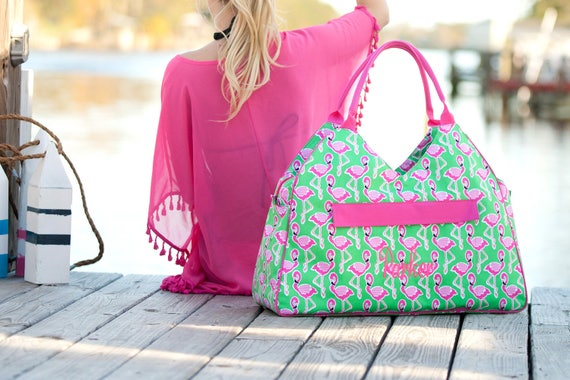 Monogrammed Bag Pink and Green Flamingo Beach Bag Flamingo Accessories Bridesmaid Gifts Weddings Overnight Bag Monogrammed Gift