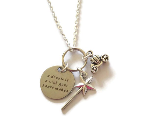 Dream necklace, princess necklace, princess gift, wand necklace, pumpkin carriage gift, pumpkin necklace, wish necklace, sandykissesuk