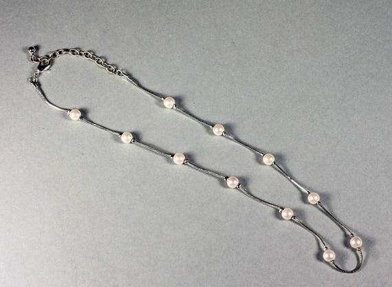 Faux Pearl Necklace, Silver Tone, Liquid Silver Chain, Lobster Claw Closure