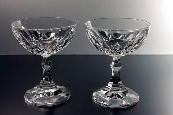 Crystal Coupe Champagne Glasses, Sherbet Glasses, Cut Crystal, Set of 2, Wine Glasses, Barware, Wedding Stemware