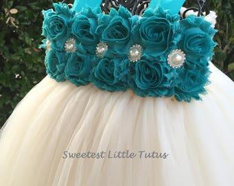Teal and Ivory Flower Girl Tutu Dress/ Teal Flower Girl Dress/ Dark Aqua Flower Girl Dress/ Flower Girl Dress
