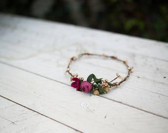 Glamour hair wreath Hair wreath with gold details Vintage wreath Summer hair wreath  Wedding hair accessories Hair jewellery