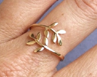 Gold Ring, Leaf Ring, Branch Ring, Wrap Ring, Adjustable Ring, Floral Ring, Leaves Ring, Band Ring, Yellow Gold Ring, Gold Plated Ring