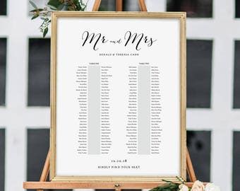 Banquet Seating Chart, 2 Long Tables, Banquet Table Plan Printable Template, Wedding Banquet Tables, 6 sizes included, Edit in ACROBAT