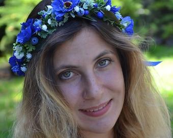Blue flower crown/ Blue flower halo/ Navy blue hair accessories/ Blue flower headband/ Party flower crown/ Rustic flower crown/ Summer crown