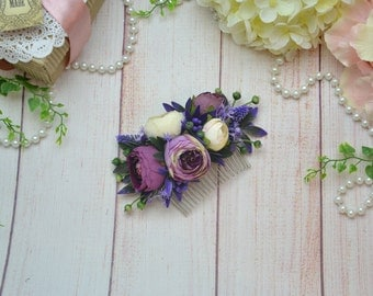 Gift/for/bride Purple flower comb Purple Wedding comb Bridal hair comb Wedding hair piece Bridal headpiece Violet hair comb Violet wedding