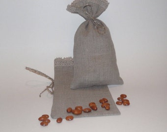 """Set of 15 Linen Bags with Lace * Wedding Gifts Bags * Present Bags *  Size 4"""" x 6"""" (10cm x 15 cm)"""