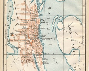 1904 St. Augustine Florida Antique Map