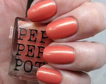Pink Coral Nail Polish Gold Shimmer Nail Polish Indie Nail Polish Bath Beauty Gift Under 15 Gift For Her Pepper Pot Polish