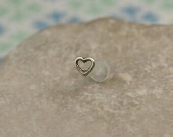 Tiny Heart Tragus - Stud Tragus Earring - 16 Gauge Bioflex - Tragus Earring - Heart Helix Stud - Tragus Bioflex - 16g Helix Stud