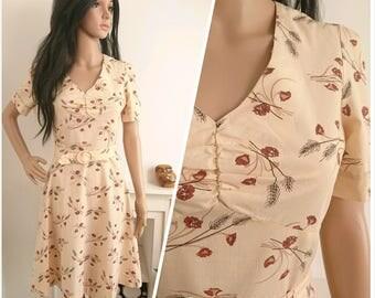 Vintage 70s Cotton Peach Ditsy Barley A line Floral Tea Dress Boho 40s / UK 10 12 / EU 38 40 / US 6 8