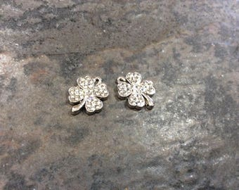 Four leaf clover charms with rhinestone detail Package of 2 Saint Patrick's Day charms Irish charms Good Luck Charms