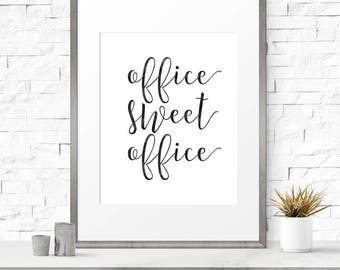 Office sweet office, Digital print, Office decor, Home office decor, Typography art print, Modern prints, Office wall art, Art for office