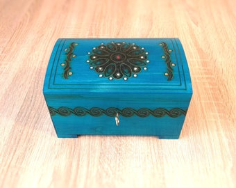 Wooden jewelry box, wooden watch box, wood trinket casket, blue box, handcarved useful casket, keepsake box, lockable box