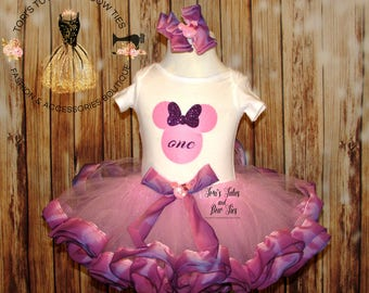 Minnie Mouse Birthday Outfit || Minnie Mouse Birthday Tutu || Ombre Tutu  || Pink and purple minnie mouse