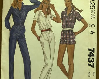 McCalls 7437 - 1980s Jumpsuit in Pants or Shorts Length - Size 7 8 Bust 29
