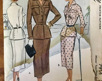 McCall 7914 - 1940s Notched Collar Jacket with Buttoned Back Vent and Straight Skirt in Midi Length - Size 16  Bust 34