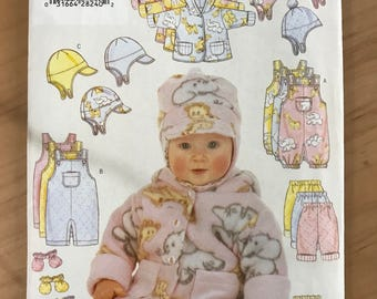 Butterick 5713 - Infant's Winter Wardrobe with Hooded Jacket, Overalls, Pants, Hat, and Mittens - Size NB S M