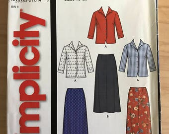 Simplicity 5384 - Button Front Top with Pointed Collar and Skirt - Size 10 12 14 16 18 20