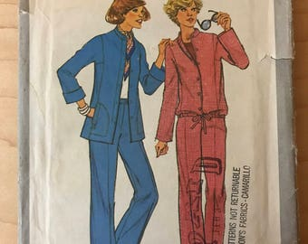 Simplicity 8200 - 1970s Unlined Jacket with Stand Up Band Collar and Drawstring Waist Option and Straight Legged Pants - Size 14 OR 18