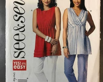See & Sew B5736 - Very Easy Semi Fitted Top with Bateau or V Neckline - Size XS S M L XL XXL