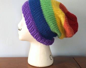 Rainbow Slouchy Beanie - Gay Pride Wear - LGBT Pride - Men's Slouchy Beanie - Women's Beanie - Rainbow Hat - Gay Flag - Everett Beanie