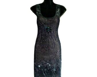 Sale Grey Short Flapper Dress, 1920s Great Gatsby Dress, Vintage Inspired 20s, Art Deco Tassel Fringe Dress, Charleston Sequin Party Dress M