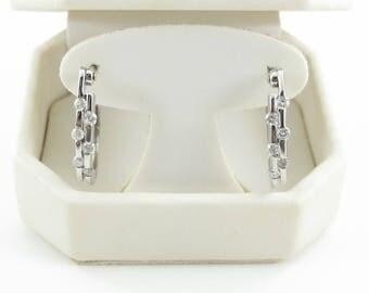 Diamond Hoop Huggie Earrings 14k White Gold 0.50 carat