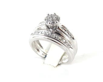 14k White Gold Diamond Engagement Ring, 14k White Gold Diamond Bridal Ring Sets