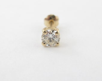 14k Yellow Gold Single Diamond Stud Earring - 14k Yellow Gold Men's Diamond Stud 0.40 carat