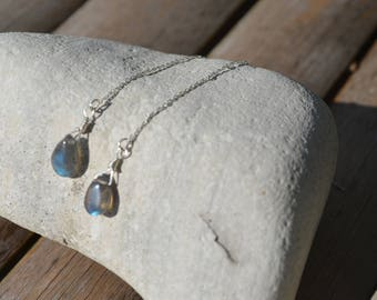 Labradorite earrings,threader, drop earrings, gift for her, long, chain earrings, gemstone, crystal earrings