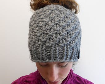 Messy Bun Hat, Bun Beanie, Bun Hole Hat, Chunky Knit, Gray Knitted Hat, Gift for Her, Made in Alaska, Wool Blend Active Winter